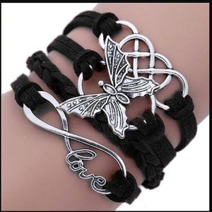 Jewelry - Multilayer Infinite Love Black Leather Bracelet